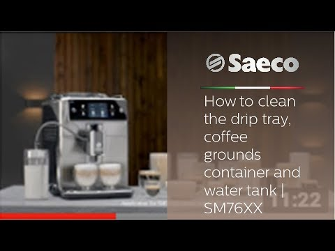 Saeco Xelsis - How to clean the drip tray, coffee grounds container and water tank | SM76XX