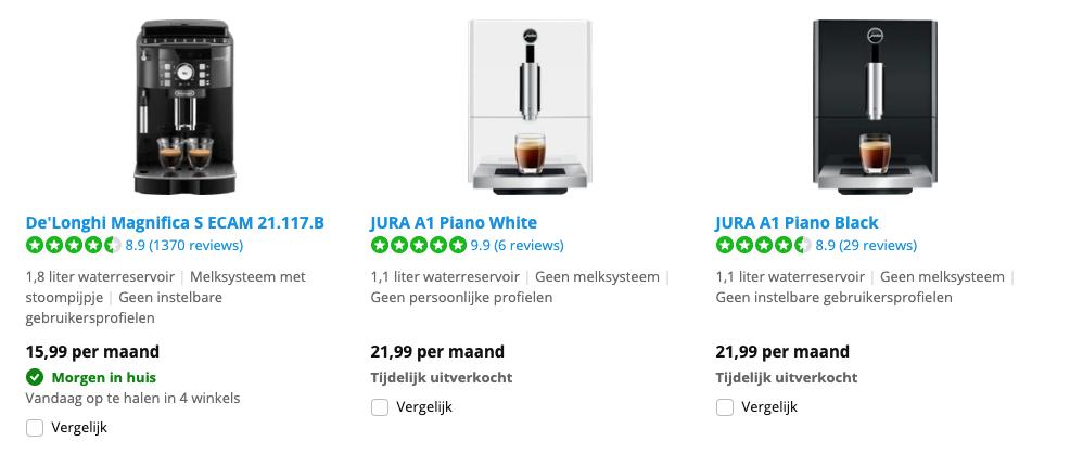 Koffiemachine leasen via Coolblue: het koffiemachine abonnement