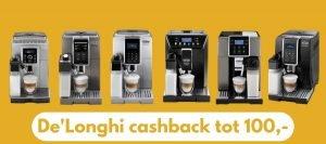 DeLonghi cashback actie 2020 2020 tot 100 euro