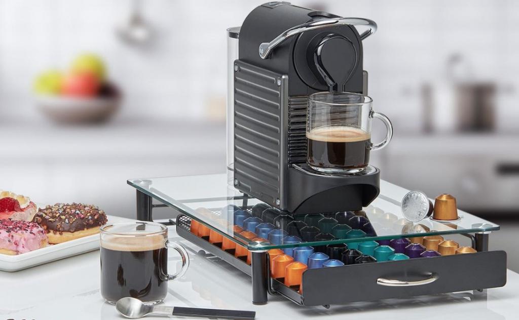 HiveNets Nespresso Kapselhalter mit Schublade Glas