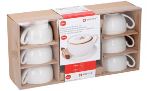 Alpina Set Cappuccino Tassen & Untersetzer Keramik Weiss